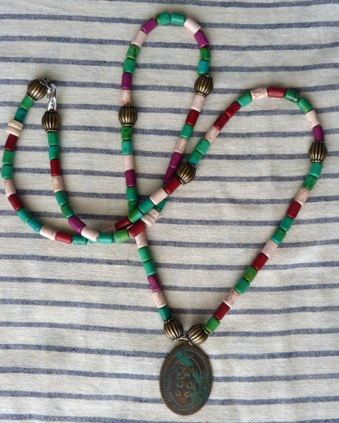 Buddha Amulet Necklace - Replica of Antique Indian Necklace Clay beads Metal beads Bone