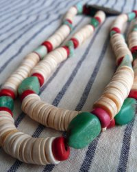 Luang Phor Tuad Brass Amulet Necklace - Replica of Antique Tibetan Necklace Chrysophase shell red coral