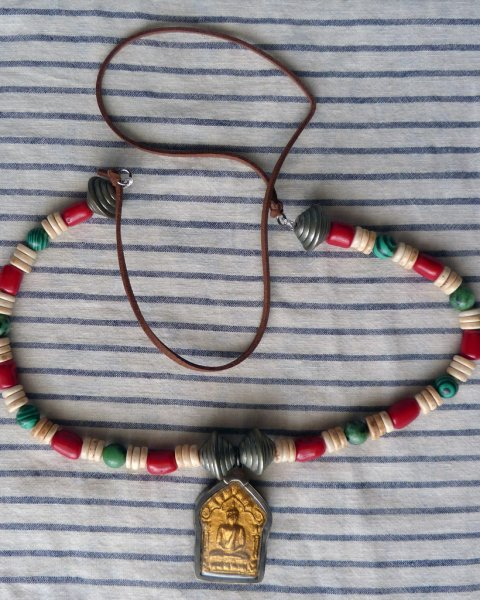 Gold Plated Buddha Amulet Necklace - Replica of Antique Tibetan Necklace - Malachite Red Coral Bone Ruby Ziosite