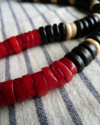 Buddha Amulet Necklace - Replica of Papua New Guinean Necklace - Bone, Red Coral Black Wooden Beads