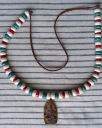 Gold Rim Clay Buddha Amulet Necklace - Replica of Antique Tibetan Necklace Howlite, Turquoise Red Coral
