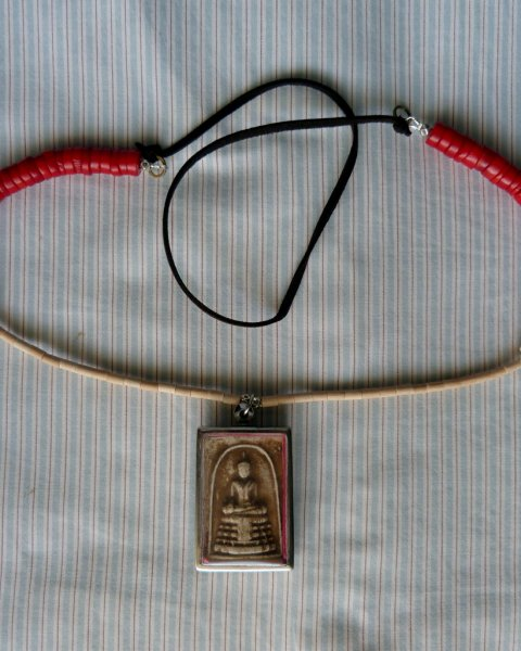 Buddha Amulet Necklace - Replica of Antique Indian Necklace - Bone Red Coral