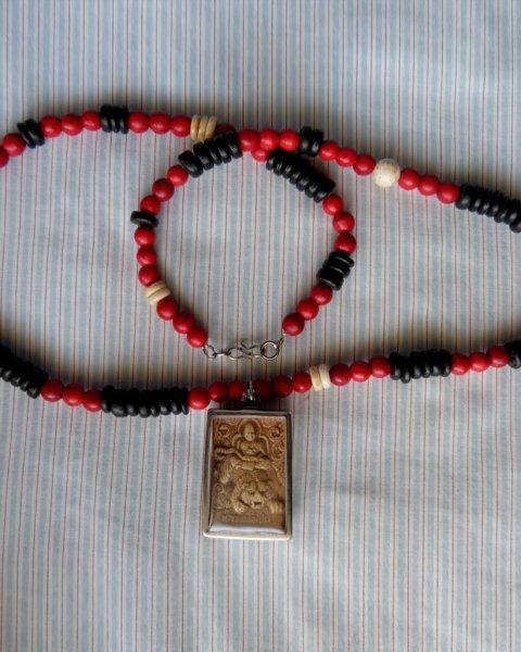 Amulet Necklace - Replica of Antique Naga Necklace - Bone, Dalmation Jasper, Howlite