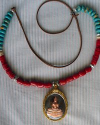 Copper Amulet Necklace - Replica of Antique Tibetan Necklace - Red Coral Bone Turquoise