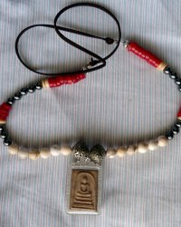 Buddha Amulet Necklace - Replica of Antique Afghanistan Necklace - Red Coral, Hematite, Howlite, Bone