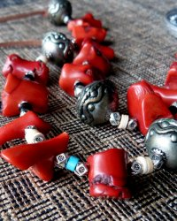 Buddha Amulet Necklace - Replica of Tibetan Necklace Red Coral, Metal Beads, Bone