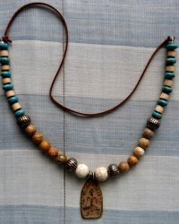 Clay Buddha Amulet with Gold Rim Necklace - Howlite, Agate, Seed Pods, Imitation Turquoise