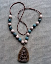Large Clay Buddha Amulet Necklace - Replica of Antique Tibetan Necklace Howlite, Imitation Turquoise, Silver Metal Separators