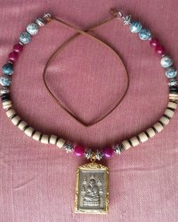 Fine Amulet of Venerable Monk Necklace - Agate, Seed Pods, Bone , Chinese Glass Beads