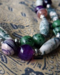 Standing Buddhist Monk Amulet Necklace - Agate, Moss Agate and Ruby Ziosite