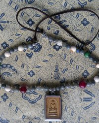 Phra Somdej Amulet Necklace - Labradorite, Ruby Ziosite, Howlite and Agate