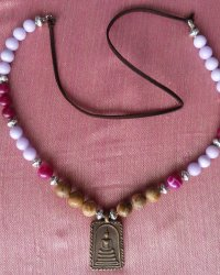 Phra Somdej Amulet Necklace - Agates, Chinese Glass Beads