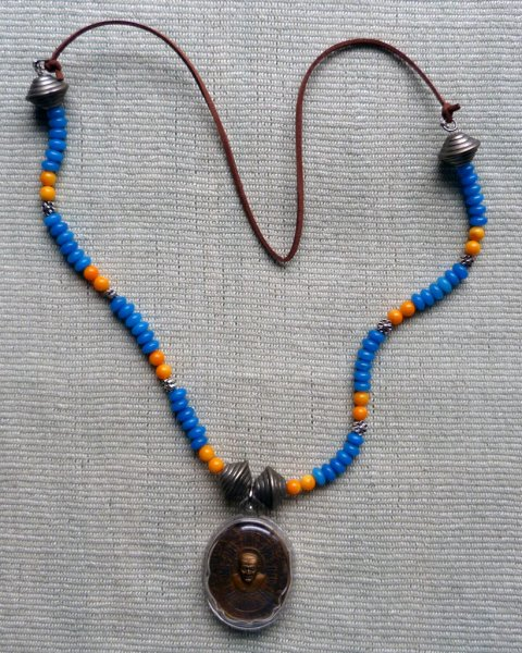Luang Phor Tuad Amulet Necklace - Chinese Glass Beads, Imitation Silver Beads
