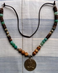 Luang Phor Ban Amulet Necklace - Agates, Wooden Beads and Dalmation Jasper