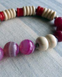 Buddha Amulet Necklace - Red Coral, Agate, Howlite, Bone, Chinese Glass Beads