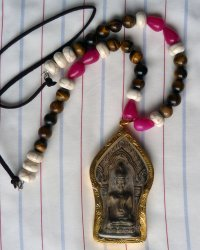 Large Clay Buddha Amulet Necklace - Howlite, Tigers Eye, Chinese Glass Beads