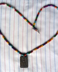 Phra Somdej Amulet Necklace - Multicoloured Clay Beads