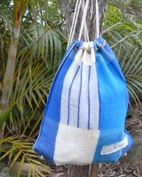 Colombo Drawstring Sack - Blue Patchwork