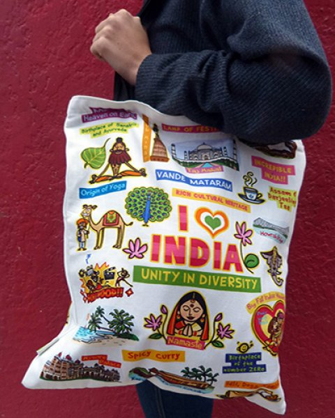 I Luv India Shoulder Bag 100% Recycled