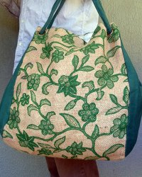 Seminyak Hessian Shoulder Bag Green