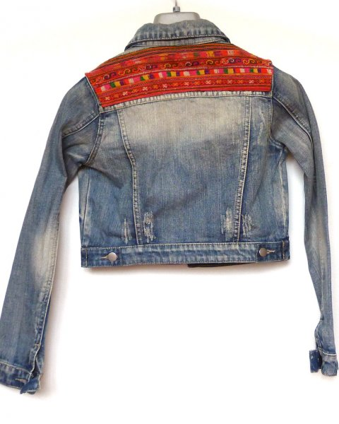 Denim Jacket size 6 Thai Hill Tribe Embroidery Eleven Raindrops brand