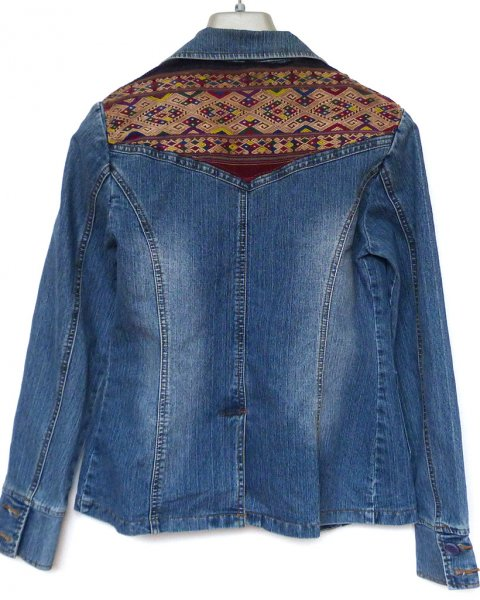 Denim Jacket size 38 Lao Hill Tribe Embroidery