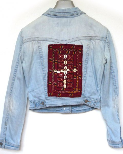 Denim Jacket size 8 Antique Indian Tribal Embroidery