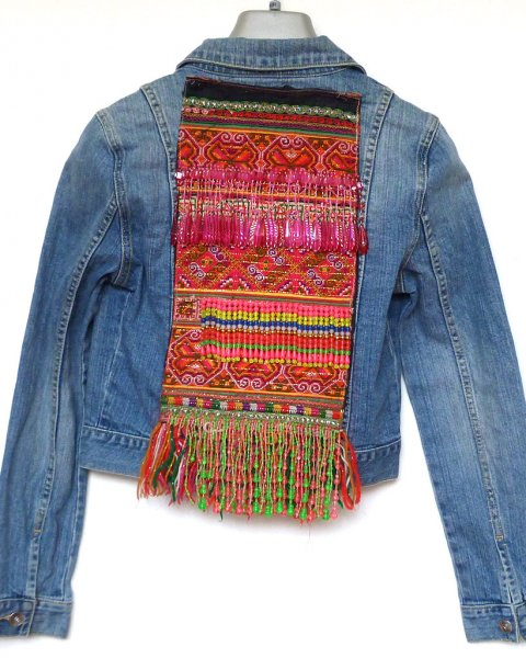 Denim Jacket Sportsgirl size 6 Antique Thai Hill Tribe Embroidery