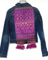 Denim Jacket Dotti brand size 10 Antique Thai Hill Tribe Embroidery