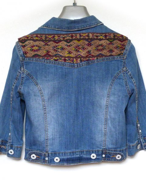 Denim Jacket size M Lao Hill Tribe Embroidery