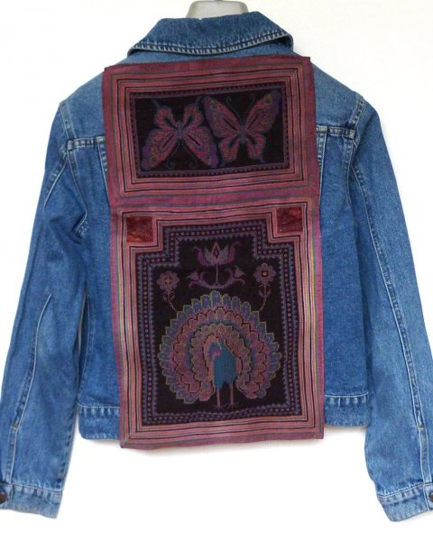 Denim Jacket Espirit brand size L Antique Thai Hill Tribe Embroidery