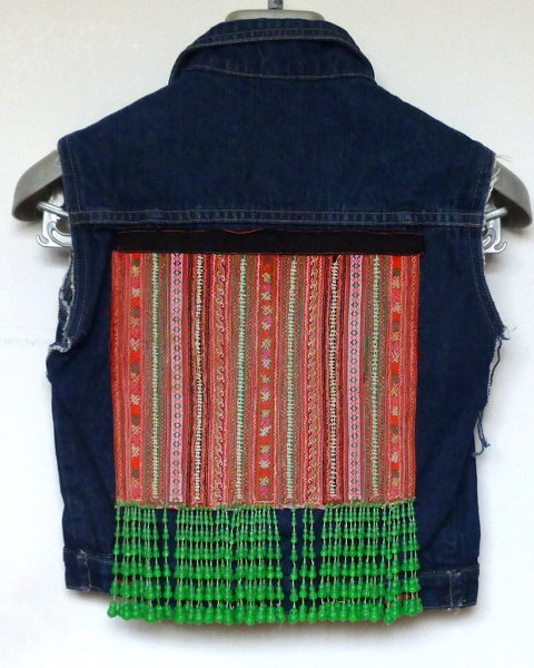 Denim Sleeveless Jacket size 7 Antique Thai Hill Tribe Embroidery Kids World brand