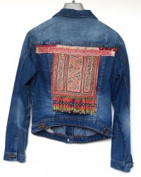 Denim Jacket size 8 Thai Hill Tribe Embroidery