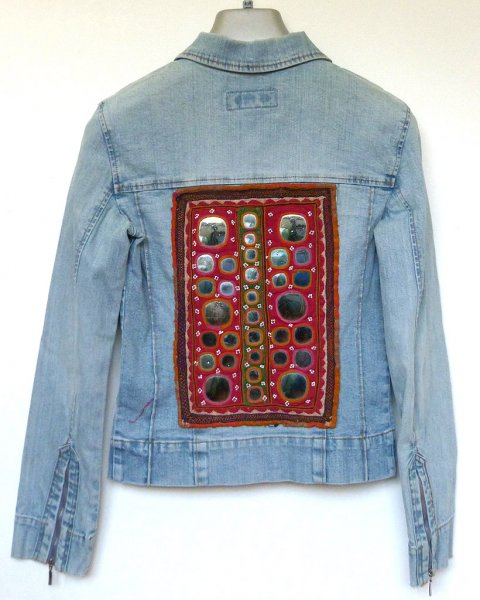Denim Jacket size 6 Antique Indian Tribal Embroidery