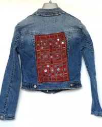 Denim Jacket Dotti Brand size 8 Antique Indian Tribal Embroidery