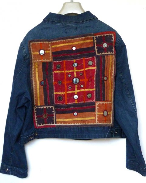 Denim Jacket  Vintage Indian Tribal Embroidery