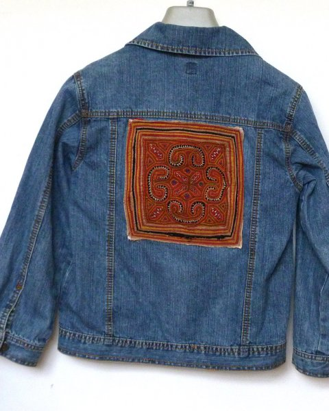 Denim Jacket Espirit brand Thai Hill Tribe Embroidery