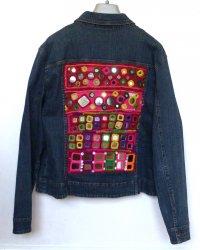 Denim Zip Jacket size 16 Indian Tribal Embroidery Sportscraft brand