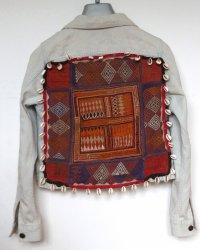 Denim Jacket Tigerlily size 10 Antique Indian Tribal Embroidery