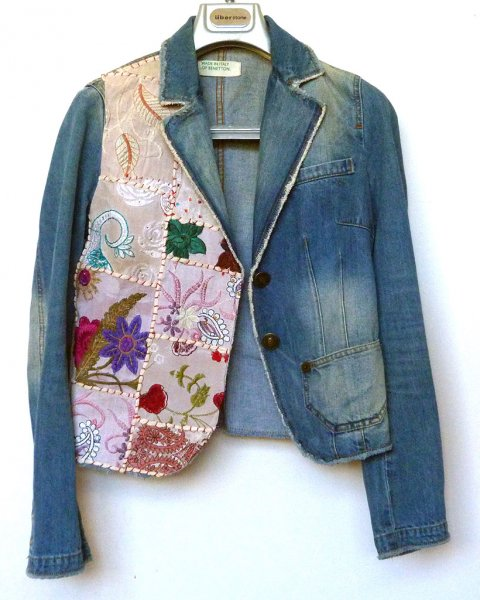 Denim Jacket Benetton size 40 Contemporary Indian Embroidery