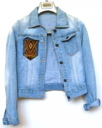 Denim Jacket Faded Thai Hill Tribe Embroidery