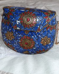 Nepal Stone Chip Purse Blue & Red Coral
