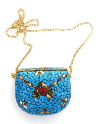 Nepal Stone Chip Purse Turquoise Blue