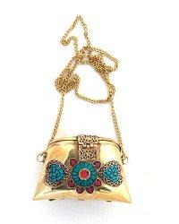 Nepal Brass and Stone Chip Purse