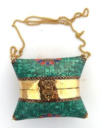 Nepal Stone Chip Square Pillow Purse Malachite
