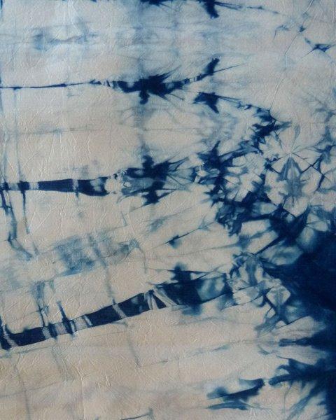 Indigo Dyed Shibori Thai Silk Scarf Large