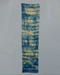 Indigo Dyed Shibori Indian Silk Scarf Large