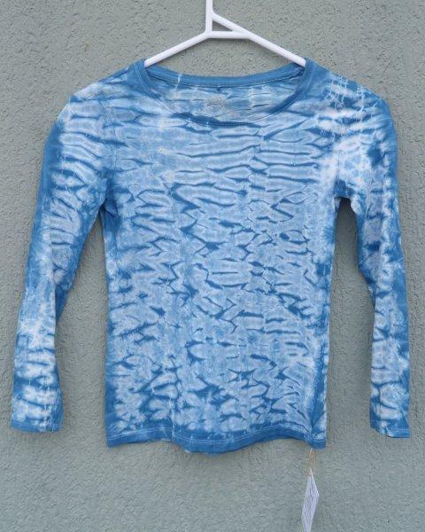 Indigo Dyed Shibori Long Sleeve T-shirt 1