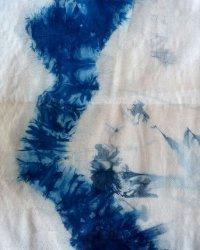 Indigo Dyed Shibori Thai Silk Scarf Small